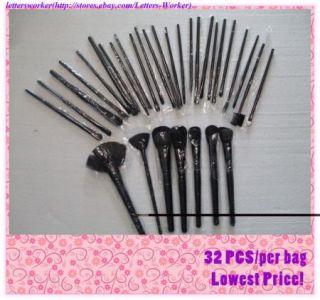 Black 32 pcs Face Eye Goat Hair Makeup Brush Make up Brushes Set