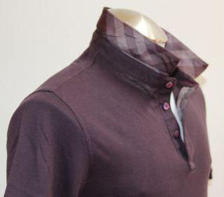 Authentic Burberry Brit Mens T Shirt Polo Burgundy Size M L Short