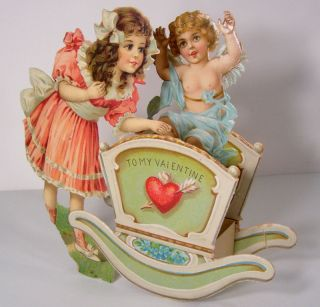 FRANCES BRUNDAGE   3D VALENTINE   Cupid & Cradle   Heart   1900