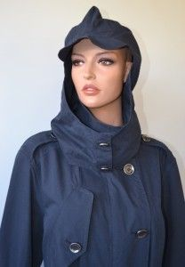 Burberry Brit $750 Hooded Navy Blue Rain Nova Check Trench Coat Jacket