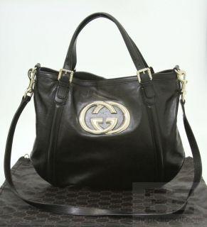 Gucci Black Leather Britt Medium Tote Bag New