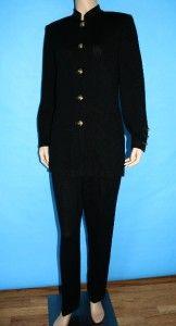 Knit Long Jacket Pants 2 PC Suit Black Gold Logo BTNS s M 4 6 8