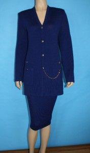 Knit Jacket Skirt 2 PC Suit Royal Blue Logo BTNS XL L 14 16