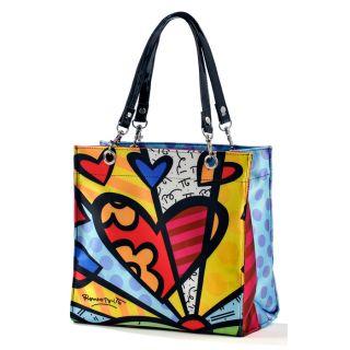 Romero Britto Tote Bag 2 Satin with Heart Design
