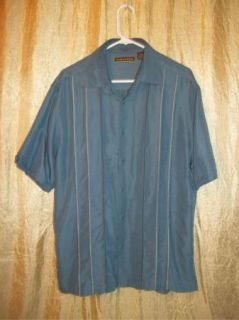 Blue Stitched Cubavera Charlie Sheen Camp Shirt L LG