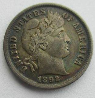 1892 SILVER BARBER DIME   FIRST YEAR ISSUE **NICE RAINBOW TONE** FULL