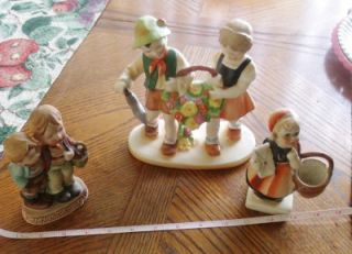 German Style Children Figurines Porcelain Mid Century