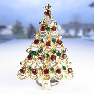 Sparkling RHINESTONE Goldtone CHRISTMAS TREE Vintage BROOCH Pin