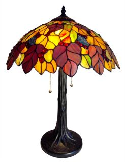 Handcrafted Wisteria Styled Tiffany Style Stained Glass Table Lamp w
