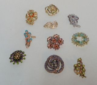 02 Lot of 10 Quality Rhinestone Brooches Pins Lot 3