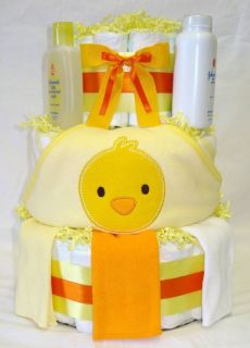 Tier Baby Girl or Boy Neutral Hooded Duck Towel Diaper Cake