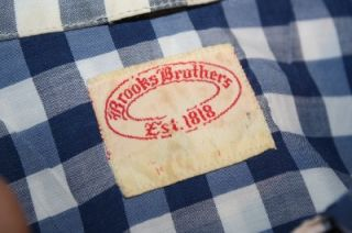 Very Old 60s Brooks Brothers Blue Check Camp Short Sleeve Shirt Mens