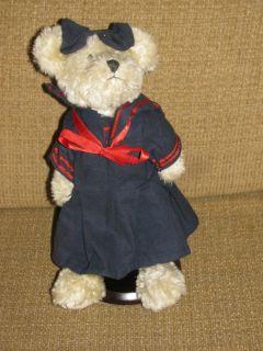 11 Boyds Bears Light Brown Bear in Blue Sailor Dress & Hair Bow Plush