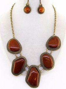 brown chunky acrylic stone gold elegant necklace set costume jewelry