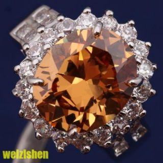 10 12mm 18K Gold Filled Brown Morganite Gemstone Fashion Jewelry Rings