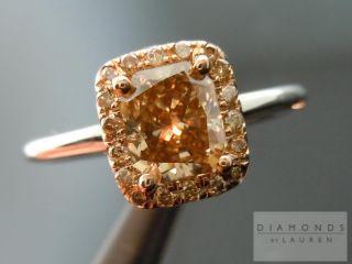 Radiant Cut Fancy Deep Brown Yellow Halo Ring R3760 Diamonds by Lauren
