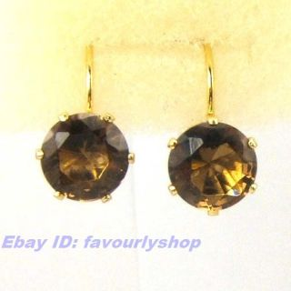Dark Brown Swarovski Crystal Solitaire 18K Gold GP Hoop Earring