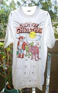 Vintage 80s T Shirt Cartoon Art Cowboy Santa Novelty Bulls XL