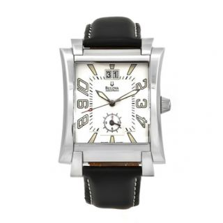 Bulova Accutron Mens Watch Swiss Movement Black Leather Strap White