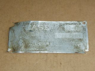 VINTAGE CASE TRACTOR FARM EQUIPMENT USED ALUMINUM BODY TAG SIZE CC #