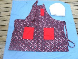 Patriotic BBQ Apron for Men LG or Unisex with Chef Hat