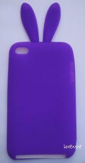 iPod Touch 4th Gen Soft Silicone Rubber Skin Case Cover Purple Bunny