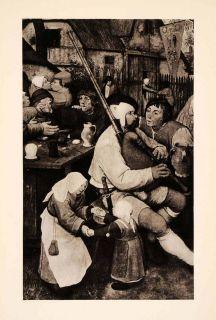 1937 Photogravure Pieter Brueghel Art Detail Peasants Dance Bagpiper