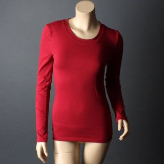 Burgundy Red Long Sleeve Women Basic Layer Crew Neck T Shirt Top Size