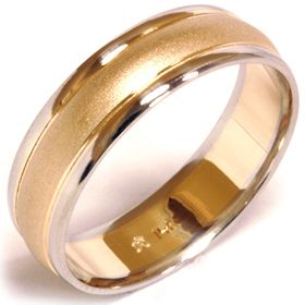 Mens Solid 14 K White Yellow Gold Wedding Ring Brushed Band