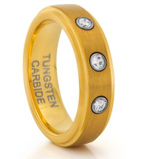 Tungsten Brushed Gold Diamond Ladies Ring Wedding Band