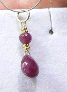 RARE Genuine Natural Untreated Burmese Ruby Briolette 14k Gold Pendant