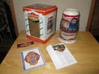 2001 Budweiser Holiday Beer Stein Mug Clydesdales Horses