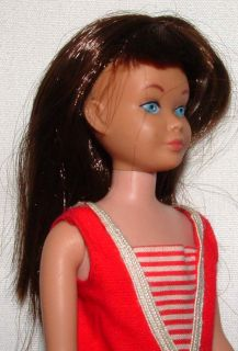 1960s Barbie Mattel Brunette Bendable Leg Skipper Doll w 1917 Land Sea