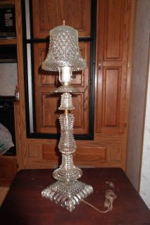 ANTIQUE BUBBLE GLASS TABLE LAMP WITH GLASS LAMP SHADE GREAT CONDITION
