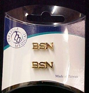bsn nurse medical lapel pin tac set of 2 gold plate new brand new 1st