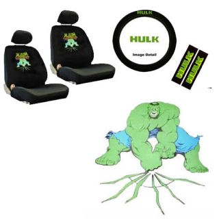 Hulk Front Bucket Car Seat Cover Set Steering Wheel Seat Belt