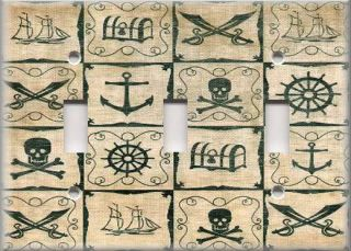 Light Switch Plate Cover Kids Room Boys Swashbucklin Pirate Decor