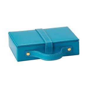 Budd Leather Travel Jewel Box with Mirror   Blue