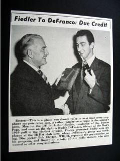 Arthur Fiedler Buddy DeFranco Hi Hat Club Boston 1950