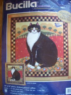 bucilla needlepoint craft kit folk art cat stitchery printed canvas