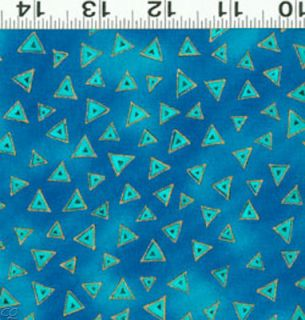 FQ Laurel Burch Basics Triangle Dark Aqua Metallic Fat Quarter