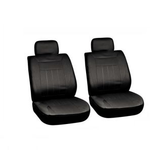 All Black Basic Front Auto Car SUV Seat Cover Set Bucket Chairs
