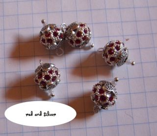 dollhouse victorian christmas ornaments sparkly red and silver crystal