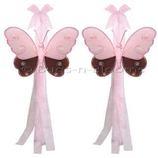 Butterfly Curtain Hailey Nursery Room Pink Brown Tie Back Tiebacks