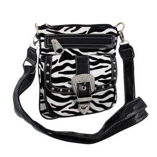 Zebra Print Rhinestone Buckle Messenger Bag Black Trim