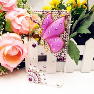 3D Bling Purple Crystal Butterfly Fairy Angel Case Cover for iPhone 4