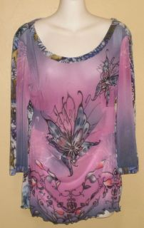 ANAC Mesh Floral Butterfly Top Shirt Sz M Medium Purple Pink