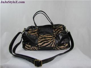 New Bueno Collection Black Brown Leopard Faux Leather Satchel Shoulder