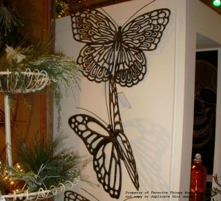 SET OF TWO LARGE CAST IRON BUTTERFLY WALL ART / GARDEN DECOR