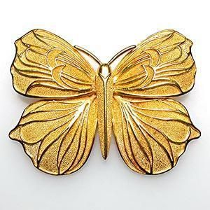 Designer Butterfly Brooch Pin Solid 18K Gold Fine Estate Jewelry